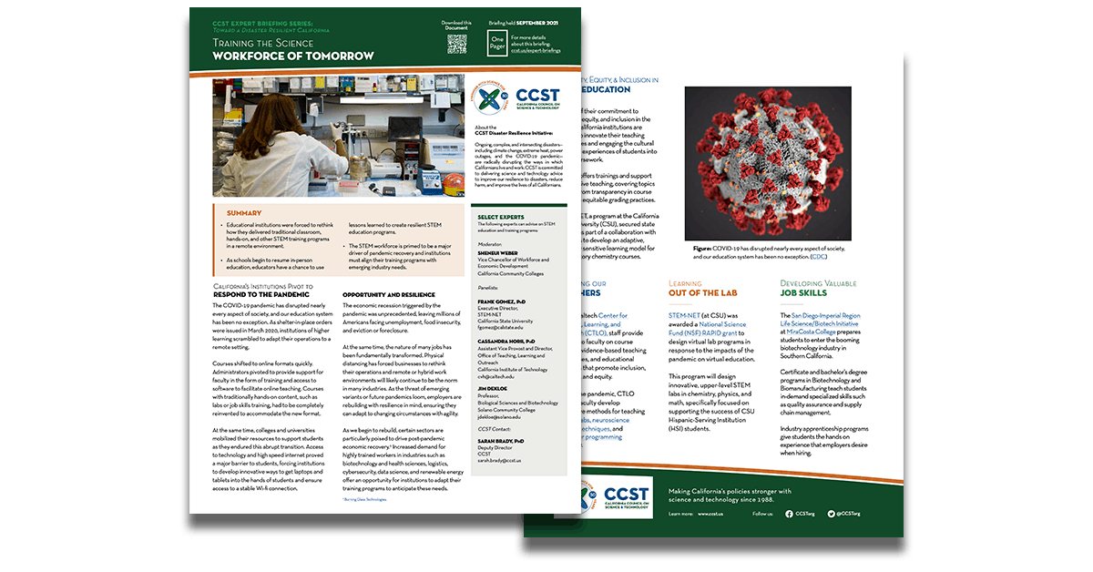 The front and back pages of the CCST one pager, overlapping on a transparent background.