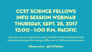 A digital graphic stating the time and date of the CCST Science Fellows info session. It is yellow text on aqua background.