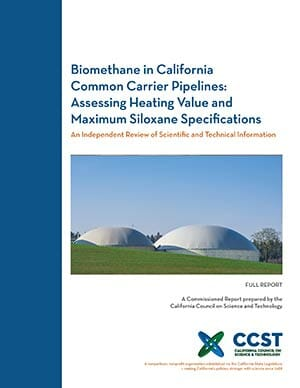 Biomethane in California Common Carrier Pipelines - Full Report Cover